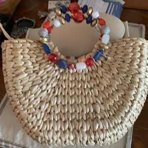 Cappelli red white & blue straw purse new